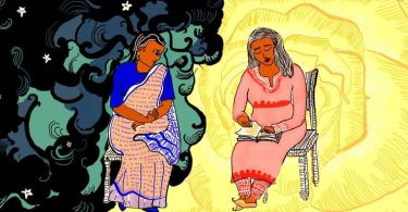 The illustration shows two seated women. The younger one is wearing a pink salwar kurta and the older one is wearing a peach and blue saree. The woman in the salwar kurta is reading a book to the other woman, who appears to be indifferent. The woman in the salwar kurta is sitting against a yellow backdrop resembling a rose while the older one is sitting against a dark, cloudy night sky with stars.