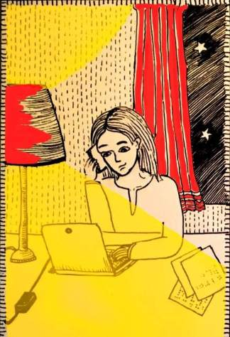 The illustration shows a woman working on her laptop in a room with a red curtain and from the window we see a brightly lit sky. Next to her is a lamp and some documents in Braille.
