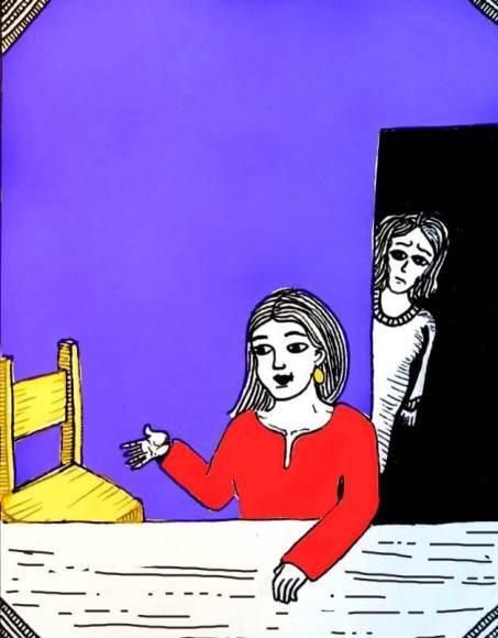 The illustration shows a woman wearing a red dress is seated in a meeting room with blue walls as another woman who is standing at the door, looks on her and frowns.