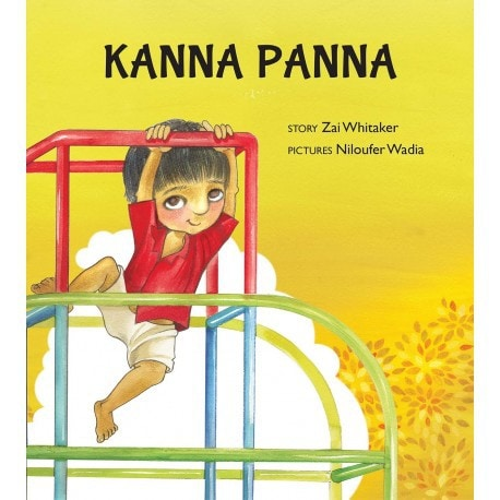 The cover of Kanna Panna shows a young boy dressed in a red shirt and camel shorts climbing a jungle gym.