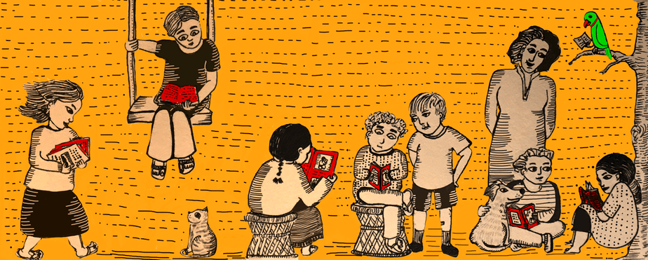 The image set against an orange background shows seven children reading books. One of them is sitting on the swing and reading. Another one is petting a dog, with a book in his hand and looking at another child as a grown person looks on them. On the right, there is a parrot perched on a tree branch with a book in its hands too.