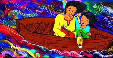 इस चित्र का बैकग्रॉउंड रंग बिरंगा है। चित्र के बीच में एक भूरे रंग की नाव है जिसमें माँ और बेटी साथ बैठे हुए है। माँ ने पीले रंग और लाल पाइपिंग का कुर्ता पहना हुआ है व बच्ची ने सुन्दर सी हरी-नीली ड्रेस पहनी हुई है। बच्ची के हाथ में पीले रंग का एक लालटेन है और माँ उसे एक लाल रंग की किताब से कहानी पढ़कर सुना रही है।