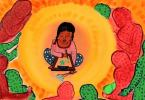 The illustration is set against a bright orange and yellow background with a halo-like effect at the centre. A girl seated in the halo, is painting and holding flowers in the other hand. There are people in green and red standing on the outline of the halo, seemingly protecting the child.