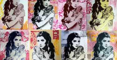 The illustration is divided into eight panels. In all the eight panels is a woman who has a large tattoo on her arm and back and is posing sideways to display it. The only thing which isn't constant in the panels is the background which changes from pink dots to orange, rose red and a mix of all these colours.