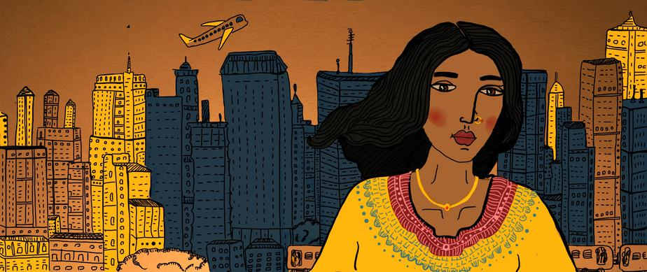 The background of this illustration has skyscrapers in shades of orange and blue, with a local train and an airplane, signifying a bustling city. In the foreground, a woman wearing a yellow necklace looks straight at us.