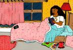 In this illustration, a woman is seated on her bed in a bright-coloured room with shades of orange, yellow and pink. She is on her bed reading under her blanket while her pillow is on the floor. There is a coffee mug lying on the floor, half-spilled, next to a magazine. On the other side of the bed is the woman's phone, blinking.
