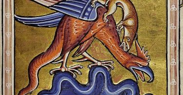 This basilisk has a raptor's beak, a cockscomb, wings, a tail and claws. He is being attacked by a weasel.