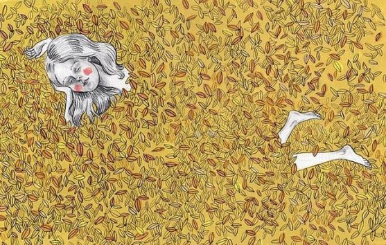 Description: An illustration of a person lying in a bed of yellow and brown leaves, eyes closed. Their body is hidden by the leaves, only their extended arms and feet stick out.