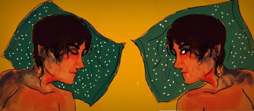 Description: In the illustration, the same figure is mirrored — on the left, the person, who has short hair, is lying down on a green pillowcase with their eyes closed, and on the right, their eyes are open. The background is yellow.