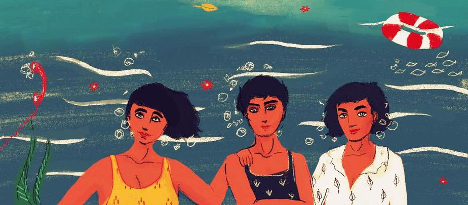 Three people stand together in the centre of the image, small smiles on their faces. They are all underwater, with bubbles, fish, leaves, a float and a red telephone floating around them.