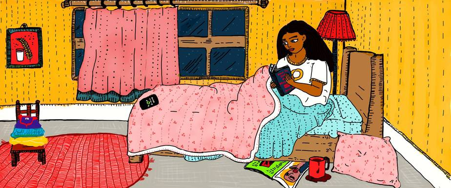 A person with long black hair sits up in bed, under a blanket, reading a book. A magazine, cup of spilled coffee and pillow lie on the floor beside them. On the edge of the bed is a blinking phone. The bedroom is decorated with yellow wallpaper and a rug, lamp and painting in warm shades of red.