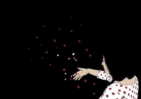 The image has a person in the bottom right corner wearing a white night dress with red dots. Their right hand is held out, scattering red and white petals into the darkness. The entire background is also black/the darkness.