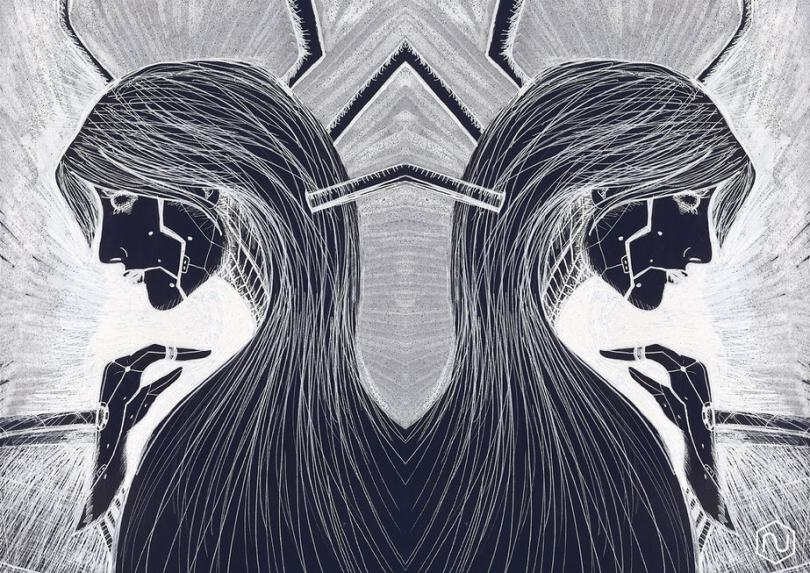 A black and white illustration of a long haired figure, duplicated on the left and right. They are looking down.