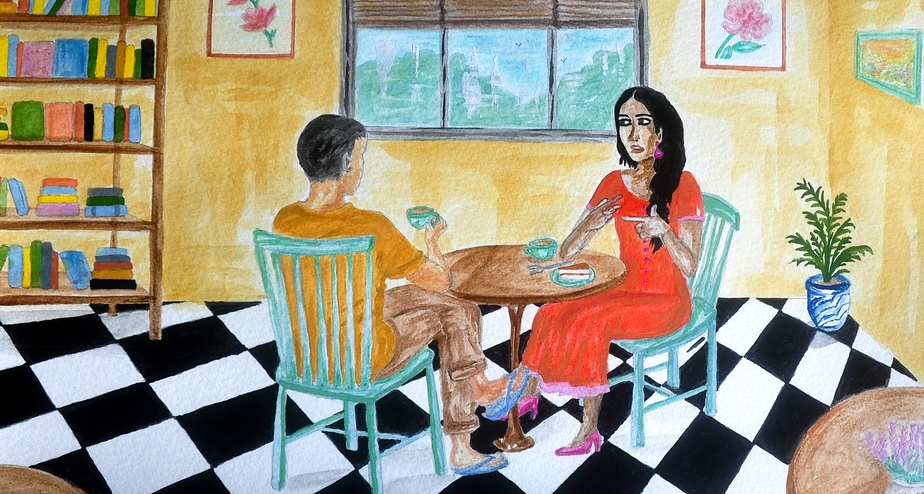 An illustration of two people seated across a table in a room. One of them is signing to the other in a conversation over a cup of tea.