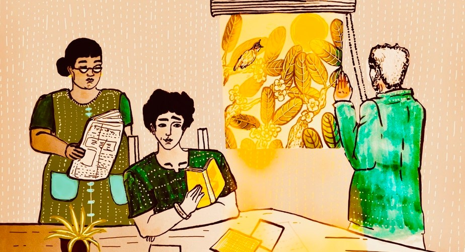 A person is sitting on a chair and reading a book. Another person is standing behind them holding papers. To their left, a person facing a window is opening the blinds.