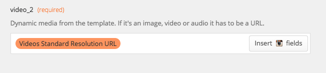 "Dynamic Media Example - Zapier. Use the ""Video Standard Resolution URL""."