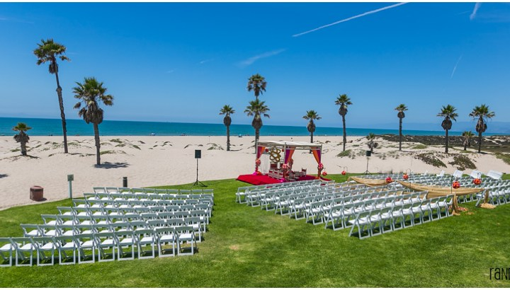 Indian wedding on the beach at the Mandalay Beach Resort near Santa Barbara.