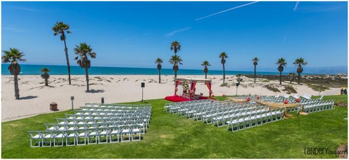 Indian wedding on the beach at the Mandalay Beach Resort near Santa Barbara.