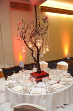 The table settings are provided by the hotel