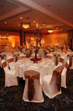 View of a reception. You can get chair covers and sashes through the venue
