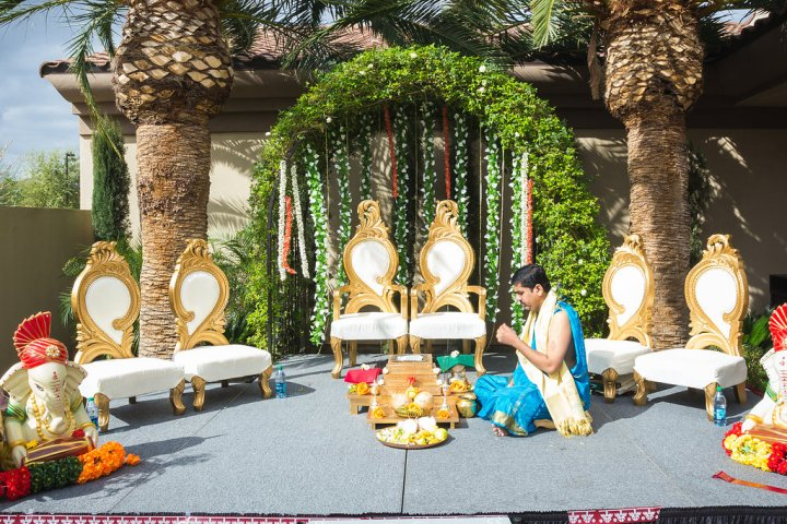 Open faced wall mandap style for an Indian wedding.