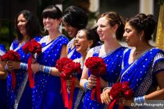 Mamta arranged these rose flower boquets for each bridesmaid to carry as she walked into the ceremony.
