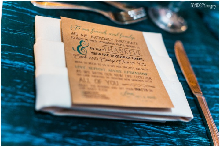 Thank you note at an Indian wedding placed at each place seating