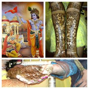 A collection of images showing an Indian bride's mehndi with Krishna figurines