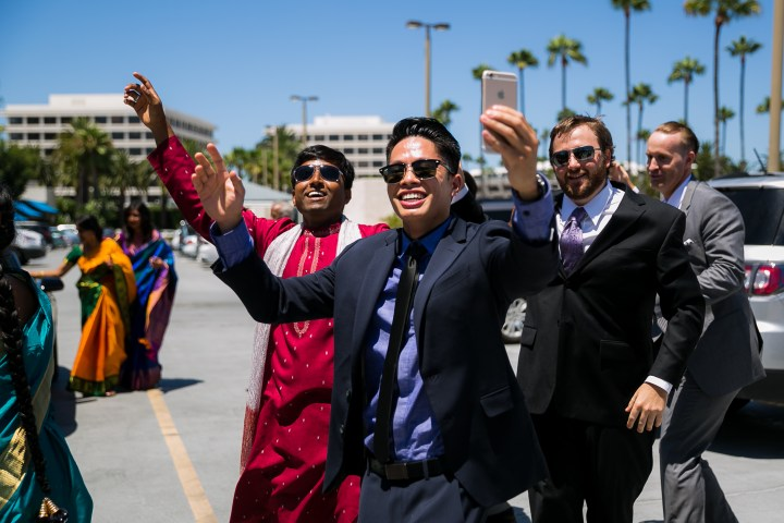 Newport-Beach-Marriott-Indian-Wedding-car-baraat-guests-dancing