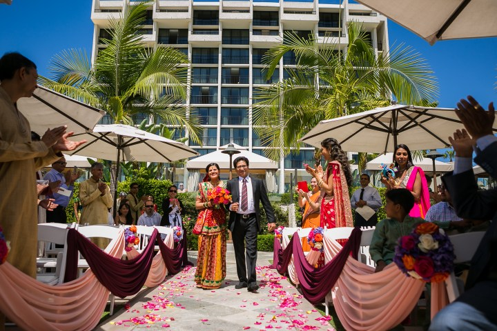 Newport-Beach-Marriott-Indian-Wedding-Photography-walking-down-the-aisle-Hindu-mandap-dad-sari-lehenga-bouquet