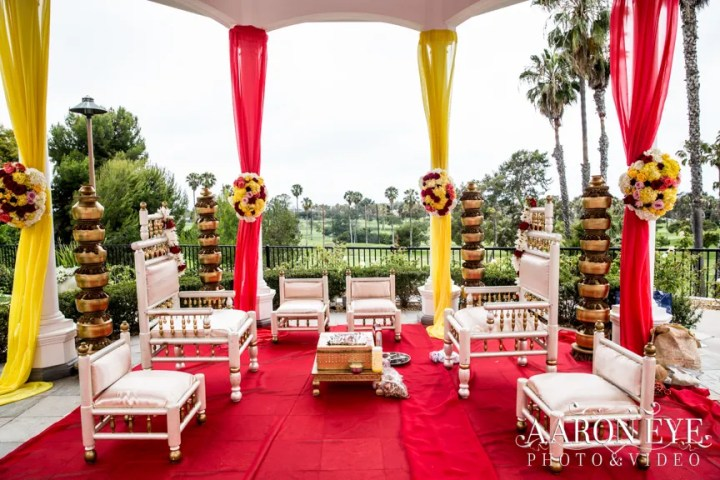 Indian wedding mandap at the Marriott Newport Beach.