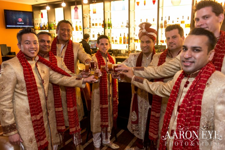Reha-Vijay-Newport-Beach-Marriott-South-Asian-wedding-Indian_wedding-Hindu-Jain-North_Indian-groomsmen-toast-Aaron-Eye-Photography-groomsmen-kurta-red-dupatta