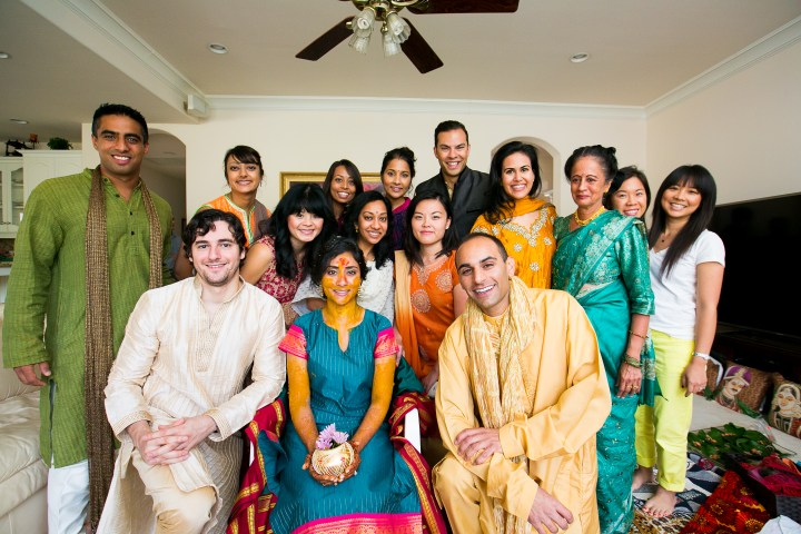 Bride's family at hindu indian wedding ceremony.