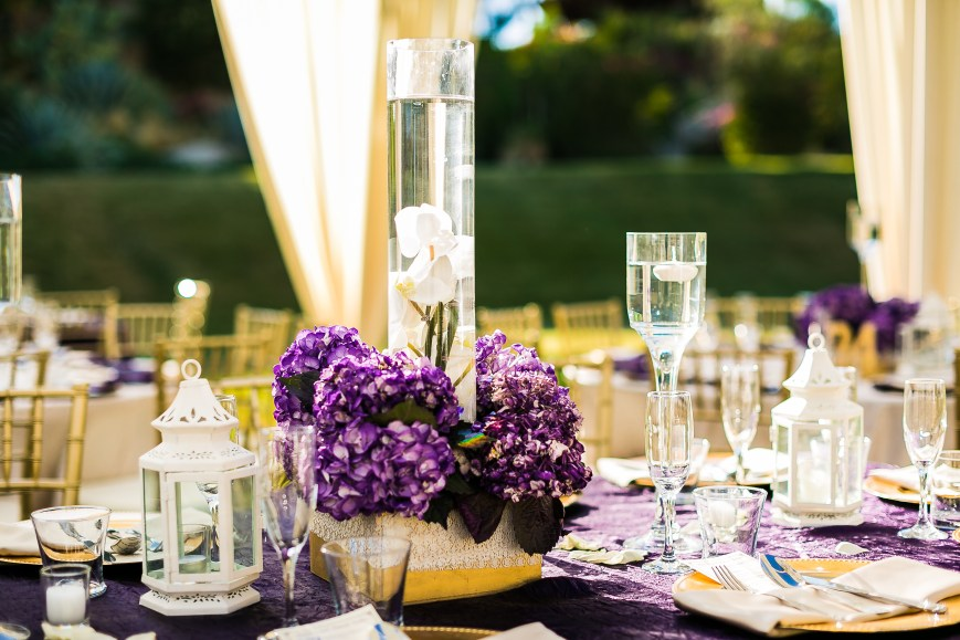 Table decor at Indian wedding reception