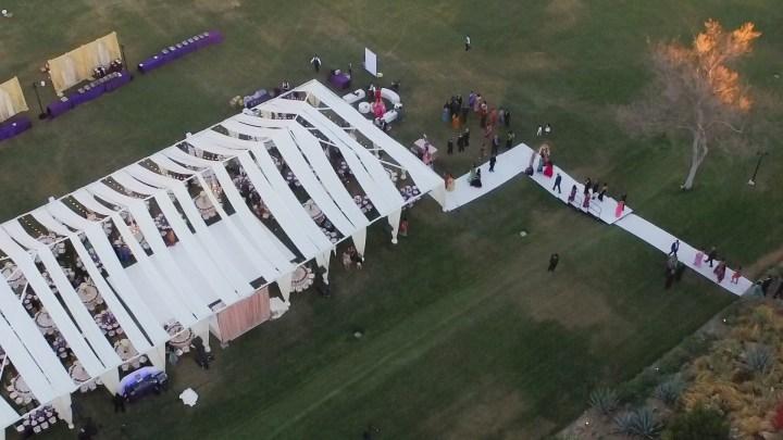 Tented Indian wedding reception at Hummingbird Nest Ranch.