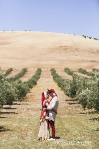 Indian bride and ger groom taking a romantic photo in a winery before their Hindu wedding ceremony.