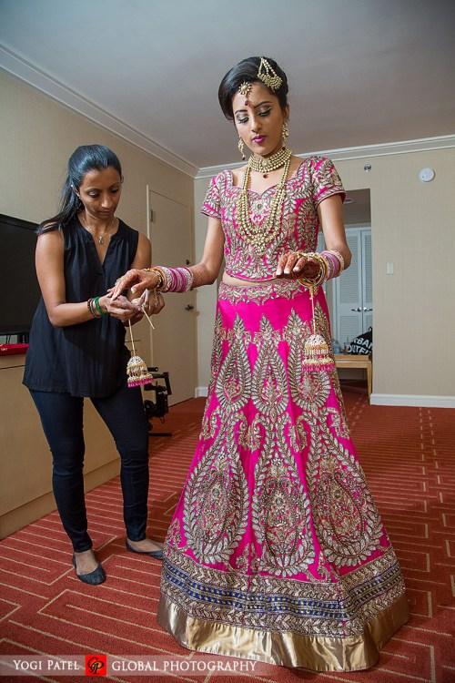 Indian-wedding-pink-lehenga-sherwani-sera-Hotel-Irvine-dupatta-Global-Photography-Kunal-Shveta-groom-dulhan-pink-lehenga