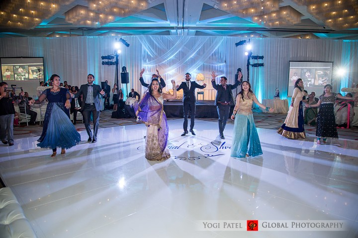 Indian wedding reception, Bollywood dance wearing a lehenga