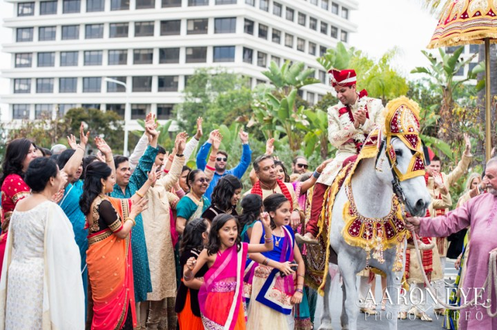 Indian wedding baraat at the Marriott Newport Beach.