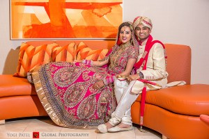 The Indian bride and groom at their Indian, Hindu, wedding ceremony.