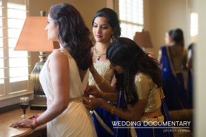 Indian bride getting ready for her Christian wedding ceremony.