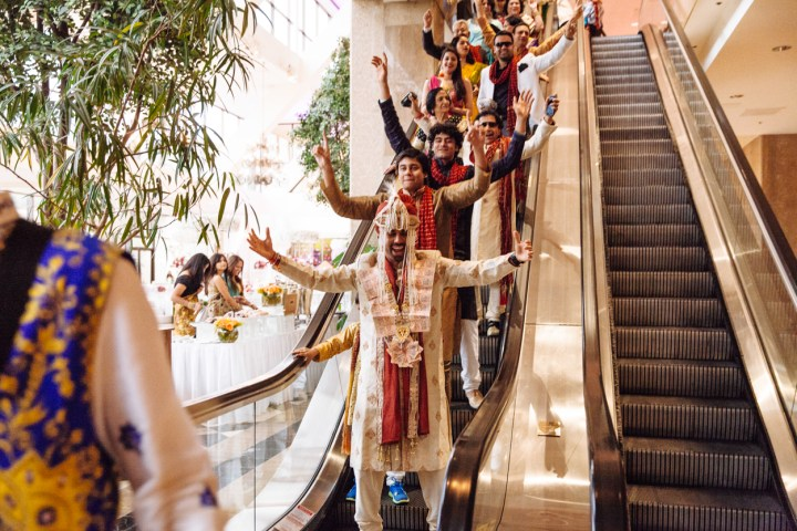 Shreta-Bharat-Indian-wedding-venue-Hindu-ceremony-Gujarati-Punjabi-lehenga-bride-groom-sangeet-garba-Prashe-South-Asian-baraat-escalator