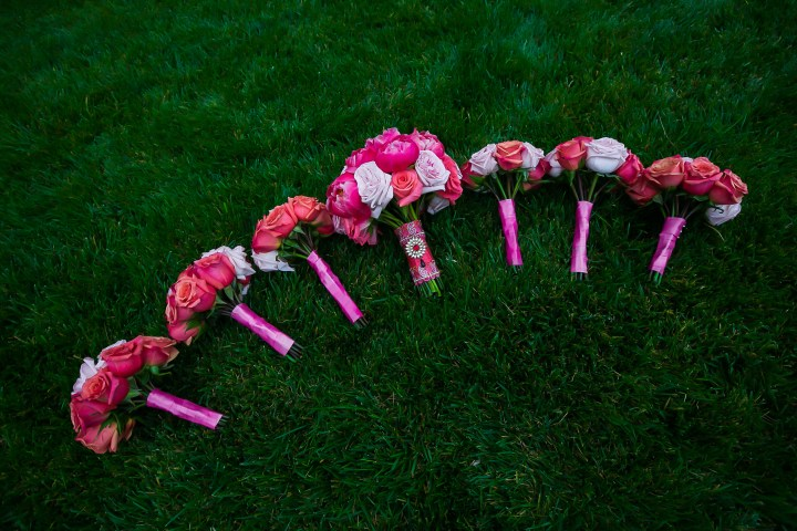 Neena-Chintan-Indian-wedding-venue-Hotel-Irvine-wedding-ceremony-Hindu-bridesmaids-pink-bouquets