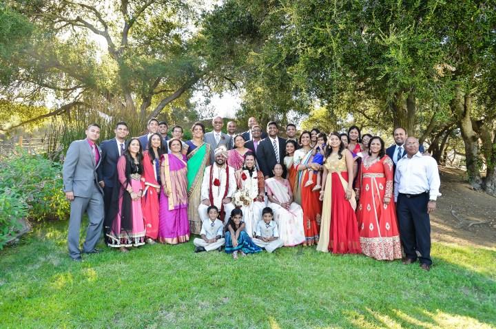 Rakhee-Amrish-gift-exchange-Indian-wedding-venue-photography-Greycard-Hindu-outdoor-dresses-bride-groom-vineyard-South-Asian-wedding-extended-family