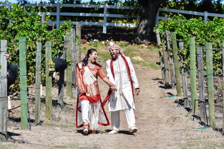 Indian bride and groom enjoying the vineyard photoshoot before their Hindu wedding ceremony.