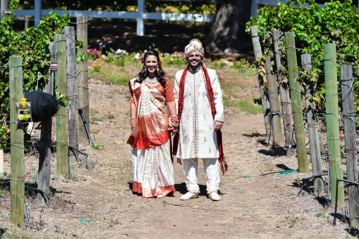 Indian bride and groom's first look photoshoot at Saddlerock Ranch in Malibu.