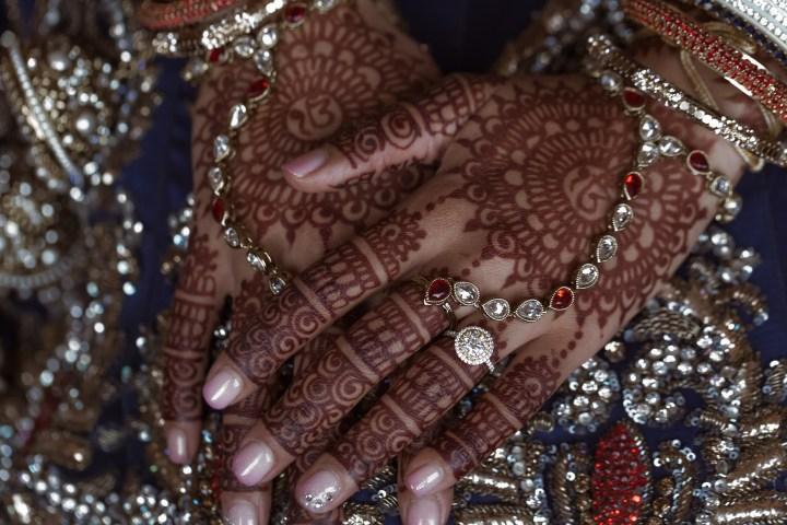 Indian bride's mehndi and panja