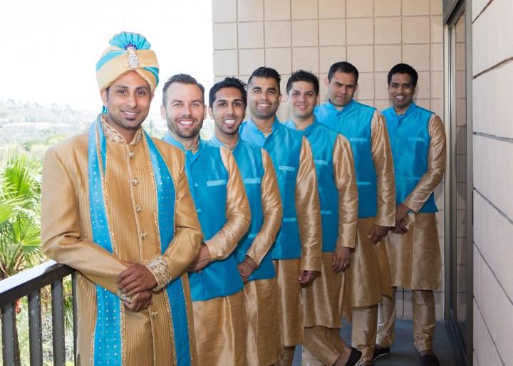 Ashmi-Suraj-Indian-wedding-venue-baraat-Hindu-Jain-San-Diego-reception-wedding-party-groomsmen-kurtas