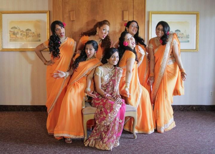 Ashmi-Suraj-Indian-wedding-mandap-varmala-San-Diego-bride-bridesmaids-saris