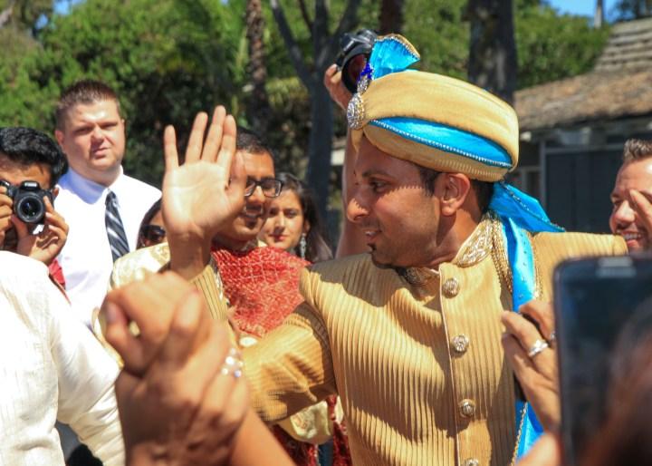 Ashmi-Suraj-Indian-wedding-venue-baraat-Hindu-Jain-San-Diego-dhol-groom-dancing